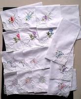 15pcs/lots cheap handkerchief white lace Embroidery womens  100% cotton hanky women's pocket square ladies 28*28cm wedding gift