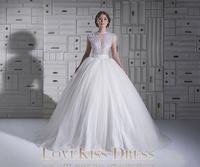 Vestido De Noiva Sheer Scoop Neck Beaded Lace Cap Short Sleeve White Tulle Ball Arabic Wedding Gowns Dresses 2015