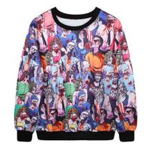 EAST KNITTING Y157 Harajuku 2015 Autumn Men Digital Horror Zombie Print  Sweatshirt Casual Long Sleeve Unisex Tracksuits(China (Mainland))