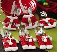 2014Feliz Navidad Christmas Decorations for Happy Santa Claus Tableware Silverware Suit Christmas Dinner Party Decor