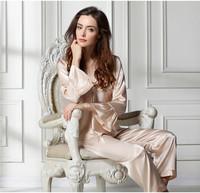 Sexy Silk Lace Full Sleeve Pajamas Set Homewear Women's Sleepwear Ladies Underwear Two- piece House Coat Leisure Wear F50