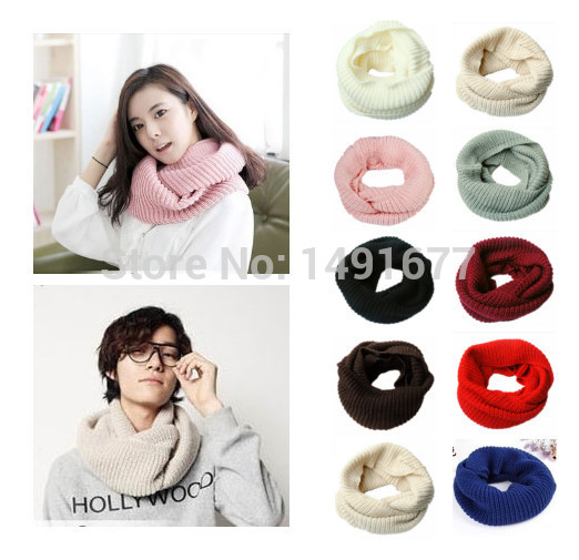 10 colors New Mens Womens Warm Winter Knit Crochet Infinity Scarf Shawl Cowl Neck Circle Cable Ring Scarves(China (Mainland))