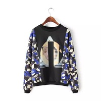 Print Long Sleeve Women Hoodies 2014 Fashion Autumn Sweatshirt Casual Women Pullover Female Sportswear 3088 Plus large size