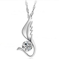 Top quality, S925 Sterling Silver Pure CZ Diamonds Fashion Love  Angel Wings necklace silver waterwave chain,free shipping