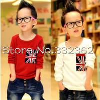 Children Clothing 2014 New Cartoon Boys Long-sleeved T-shirts American Flag Pocket T-shirt Cotton Bottoming Shirts For Baby Boy