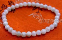 """SALE small 6mm Round white Natural High quality Moonstone Beads bracelet 7.5""""-bra266 Free shipping"""