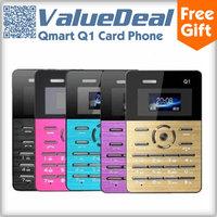 "Original Qmart Q1 MTK Single Core Mini Pocket Card Cell Phone Ultra Thin Slim 1.0"" mp3 player Built-in Battery Russian Enligsh"