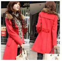 2014 autumn/winter new ladies Korean yards long casual slim wool coats trench coat women's woolen cloth Outerwear