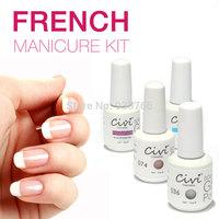 4pcs Civi Nail Gel Polish French White Pink Color UV Lamp LED Soak Off French Tips Kit Top Coat Base Coat