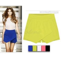 A25    Fashion Women Stylish Casual Wrap Mini Skirt Irregular Laminated Flanging