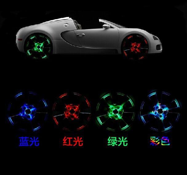 Car Styling!! 4pcs 12Leds Car Covers Solar Energy Power wheels hub light waterproof RGB Wheel Center Cap LED Rims Tires For Cars(China (Mainland))