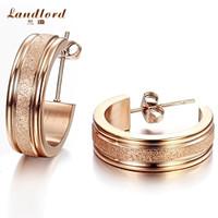 [Landlord] Brand New 18k gold & rose gold plated earrings dull polish earring 316L Stainless Steel Earrings For Women GE252