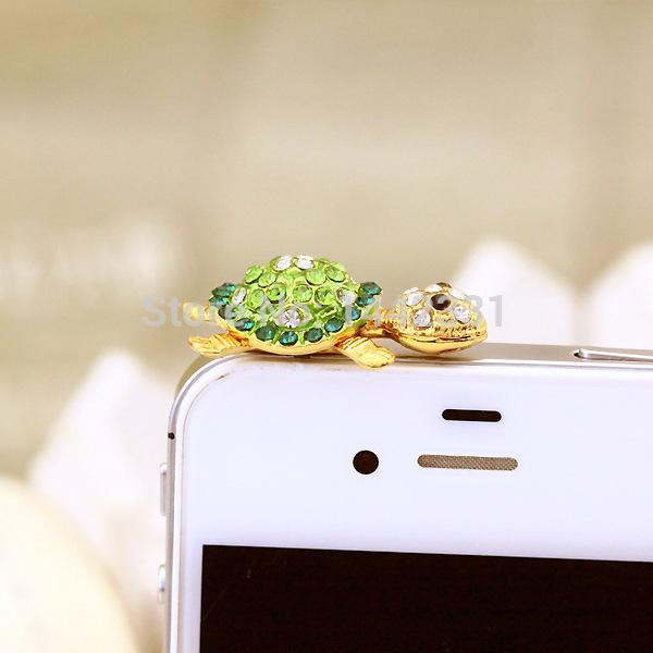 Diamond GREEN back gold tortoise lovely Star Bling cute puppy 3.5mm universal dust Plug Earphone Jack Plug Headset Stopper Cap
