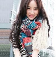 Korea Style Autumn Winter Warm Wool Knitted Long Tassel Soft Scarf Shawl Retro Bohemia Sets of Men and Women, item no.: 510