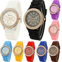 New women fashion silicone watch rhinestone luxury woman top brand Geneva watch ladies outdoor sports quartz watches waterproof