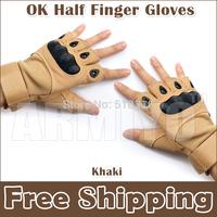 Armiyo Good Quality OK Half Finger Swat Work Gloves Khaki Mittens Free Shipping