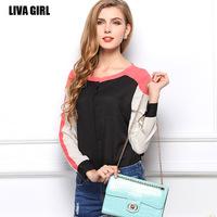 2014 Fashion Autumn summer blouses patchwork hit the color stitching long sleeve shirt temperament OL chiffon shirt C1359
