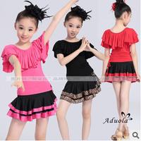 2014 Latin Dance Dress For Girls Kids Dance Tutus Skirt Children Summer Samba Ballroom Dance Dress Exercise Clothing FC219