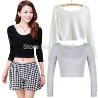 Fashion Womens Cut-Out Crooped Tops Long Sleeve T-shirt Clubwear Cropped Top HotFree&Drop Shipping