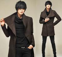 New Fashion men Slim long section of  large turn-down Collar coat MC015