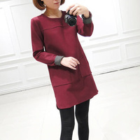 Free Shipping Women's Stitching Loose Woolen Winter Dress