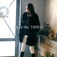 Brand newLuxury Womens Jacket Fox Faux Fur Outwear Long Parka Long Sleeve Coat UK6-16