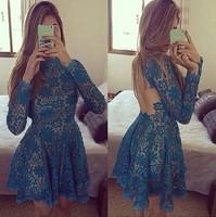 Plus size women sexy halter mini dress long sleeve lace nightclub dress flower lace hollow out party dress vestidos LJ153XGJ
