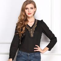 2014 Woman Blouse Full Long Sleeve Chiffon Shirt Autumn Women Clothing V-neck T-shirt Slim solid copper chiffon shirt C1367