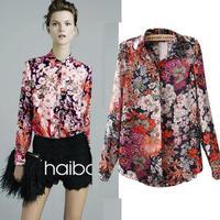 2014 fashion autumn women's chiffon shirt large flowers printed shirt big yards long sleeve blouses chiffon shirt C0905
