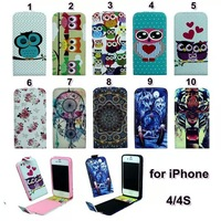 Sleeping Owl Family Rose Love Heart  Wolf Angry Tiger Steller Leather  Vertical Flip Cover Case For iPhone 4/4S/4G
