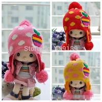 Hot Kids Hat Cap with ear flap Colorful Cartoon Grils boys Winter Warm Hats Knitted Crochet Children Apple Caps