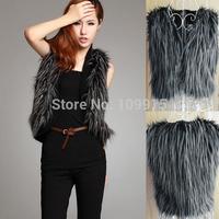 Brand newWomens Short Jacket Coat Peacock Pattern Outerwear Faux Fur Vest Waistcoat
