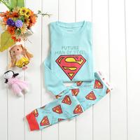 High quality children superman cartoon pajamas clothes sets baby girls boys winter warm sleepwear long sleeve costume for kids
