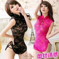 Sexy temptation adult set cheongsam small sleepwear clairvoyant outfit women's short skirt transparent