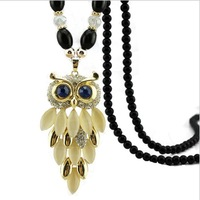 The owl Crystal Necklace female Korean fashion sweater long section of South Korea