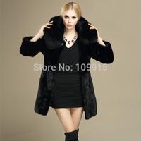 Brand newLuxury Women Rabbit Fur Coat Fox Fur Collar Hooded Long Jacket Parka