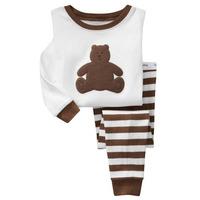 Baby Boys Kids Casual Cartoon Panda Long Sleeve Pajamas Sets Autumn And Winter Cotton Stripe Pyjamas Children Clothes Size 2-7Y