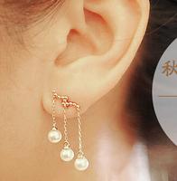 2014 new fashion ladies luxury Imitation Pearl tassel earring statement earring