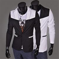 2014 New fashion   man overcoat  men slim fit color blocking suit blazers    2 colors  M- XXL
