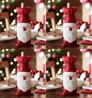 20Pcs Xmas Santa Claus wine bottle bag Christmas gift bag,free shipping