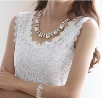White Feminine Lace Blouses 2015 New Casual Women Summer Dress Women's Width Strap Blouse Income Sleeveless Shirt Women Clothing