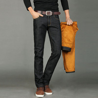 Alpha 2014 Winter New Arrival Men Thickened Fleece Liner Jeans Thick Warm Winter Straight Long Jeans Trousers Size 28-38