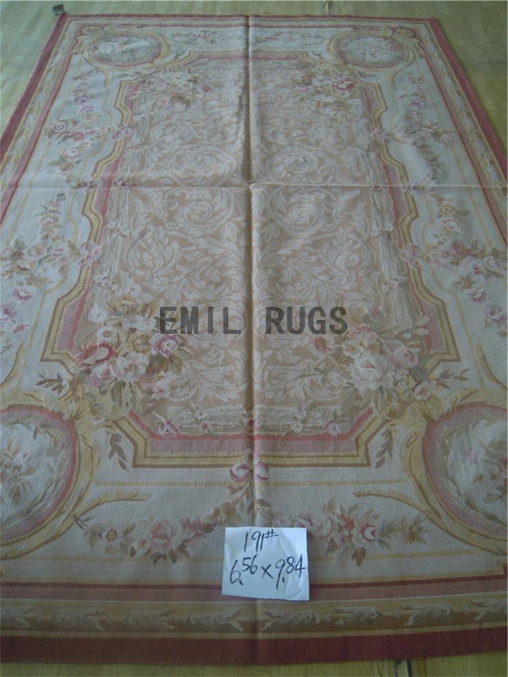 palace aubusson wool rug 198CMX299CM 6.5 'X 9.8' beige big edge blue gc19aub15(China (Mainland))
