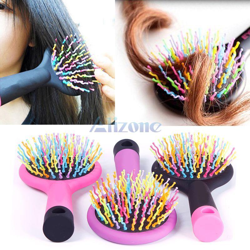 Rainbow Volume Anti-static Magic Hair Curl Straight Massage Comb Brush Mirror Styling Tools#67512(China (Mainland))