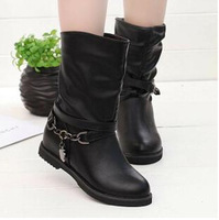 New Women Boots Shoes Female Fashion Flat Boots Lady Autumn/Winter Ankle Martin Boots pu leather shoes Big Size 35-40