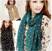 New! Silk Polka Dot Scarves Long Spot Scarf chiffon Wrap Headscarf Shawls Sexy warm soft Women's Christmas gifts 10pcs/lot