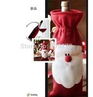 Santa Claus Christmas Decorative Red Wine Bottle Sets Cover Bag Christmas Decoration navidad Free Shipping