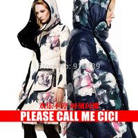 Vintage Fashion Women Casual Down Coat Velvet Thickening Long Winter Jacket Hooded Printing Women Overcoat White Duck Parka