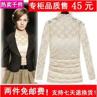 2014 autumn fashion slim lace turtleneck t-shirt lace shirt basic shirt female hot plus size