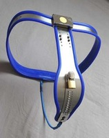 Blue Stainless Steel Chastiy Belt - Female Adjustable Curve-T Stainless Steel Premium Chastity Belt with One Locking Cover